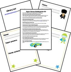 Free for kids: Super Heroes Kindergarten Kit/Lapbook Kindergarten Learning, Preschool Kindergarten, Teaching Reading, Teaching Tools, Superhero Classroom Theme, Classroom Themes, School Classroom, Father's Day Printable, Free Printables