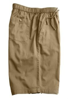 Kingsize Men's Big & Tall Knockarounds Full Elastic Twill Or Denim Shorts With Inside Drawstring, Khaki 2Xl