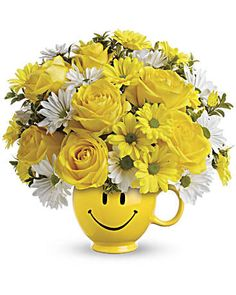 Order Teleflora's Be Happy Bouquet with Roses from Villere's Florist, your local Metairie florist. Send Teleflora's Be Happy Bouquet with Roses for fresh and fast flower delivery throughout Metairie, LA area. Fresh Flowers, Beautiful Flowers, White Flowers, Cheap Flowers, Buy Flowers, Flowers Garden, Order Flowers Online, Yellow Daisies, Bon Weekend