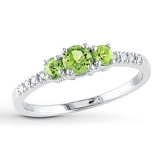 3-Stone Peridot Ring 1/20 ct tw Diamonds 10K White Gold