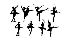Ballerinas  Set of 8 Silhouette  Ballet Dancers VINYL by WrenGifts, $12.00  stick in clear picture frame