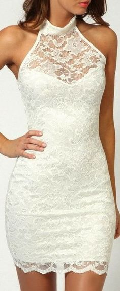 Lace white dress Another beautiful dress that would work perfectly at a reception. Just the right amount of sexy, flirty, fun and modest.