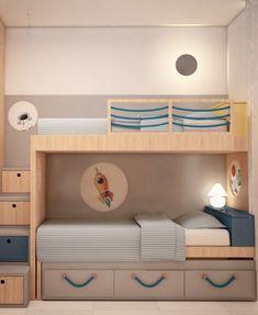 Projeto Quarto para 3 Irmãos - quarto divertido - bicama + beliche - madeira+cinza+azul+amarelo