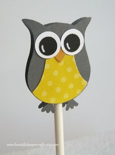 Owl Cupcake Toppers Gray and Yellow  Owl by BeautifulPaperCrafts, $9.50