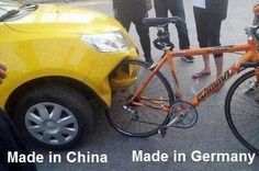 Chinese car vs German bicycle.