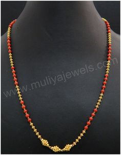 Gold Chain Design, Gold Jewellery Design, Bead Jewellery, Temple Jewellery, Beaded Jewelry, Gold Jewelry Simple, Coral Jewelry, Ruby Jewelry, Diy Jewelry Necklace