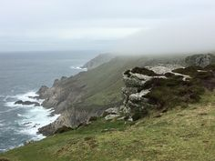Lundy Island in late Spring - west side, mist lifting