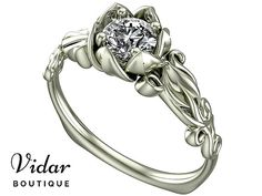 Flower Engagement Ring,Unique Engagement Ring,White Gold Solitaire Ring By Vidar Jewelry Botique,Diamond Engagement Ring,Vintage Ring Gold