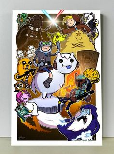 I LOVE this Star Wars & Adventure Time mashup on etsy (who I don't like much for selling racist products) so might have to temporarily lift my ban to buy this piece of art by Mike Vasquez & colored by Joe Hogany for $20 + shipping  http://www.etsy.com/listing/124356452/adventure-wars-star-wars-adventure-time?