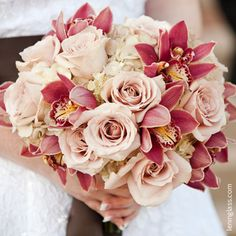A simple yet classy bouquet of Quicksand rose and burgundy cymbidium orchids. Love this!