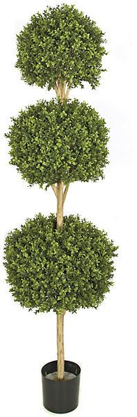 """Artificial Triple Ball Topiary for special events and venues.    Commercial quality plant like features Tutone Green with limited UV protection Plastic Material Stabilizing weight base included Plant stands 6.5ft tall Plant ball widths 16"""", 18, 20"""" Plant tip count 3,672 Decorative pot sold separately Don't see what you need?  Call us for further customized products."""