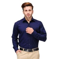 Men Navy Formal Slim Fit Shirt in Rs. 199