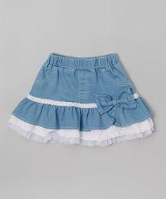 Look what I found on #zulily! White & Blue Ruffle Skirt - Toddler & Girls #zulilyfinds