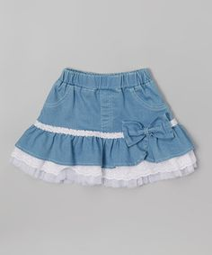 Look what I found on #zulily! Denim & White Ruffle Skirt - Toddler & Girls #zulilyfinds