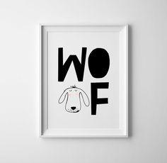Dog 'woof'  Baby room art. Black and white baby. Modern print, wall art, sweet baby shower gift, scandinavian, nursery decor