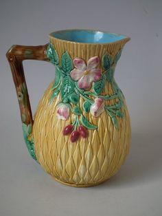 Brown Westhead Moore & Co Majolica floral pitcher | ID#20224 | Madelena