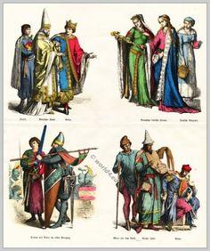 12th century clothing. Nobility, Pope, Jewish, Crusader. German women and man