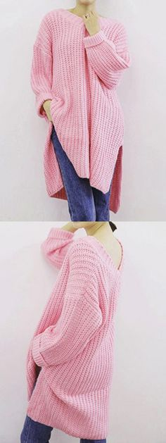 Love this sweet pink sweater to wear in the cold day.