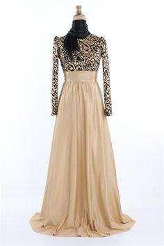 Ayşe Melek Prenses Abiye Elbise Gold 1042