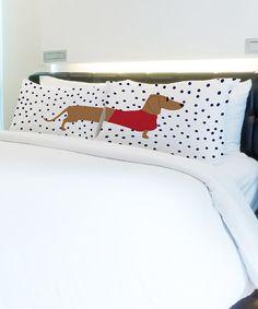 Dachshund Dots Standard Pillowcase - Set of Two