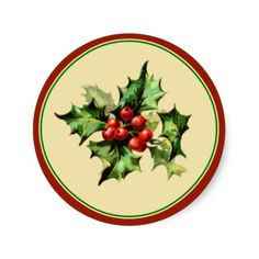 Red & Green Holly Christmas Holiday Envelope Seals Sticker