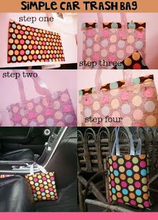 here's a mini tutorial for a REALLY simple trash bag to use in your car! step one: cut fabric according to how big or small you want your ba. Quilting Tutorials, Sewing Tutorials, Sewing Crafts, Sewing Projects, Sewing Patterns, Diy Crafts, Car Trash, Trash Bag, Clutch Bag