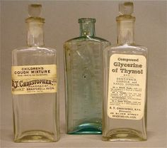 I saw Fred in the wagon dispensing remedies as fast as the others could convince the crowd of th Antique Bottles, Vintage Bottles, Vintage Labels, Oil Bottle, Vodka Bottle, Old Medicine Bottles, Vintage Medical, Bottle Packaging, Bottles And Jars