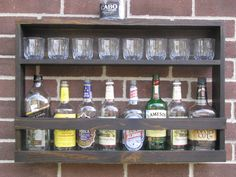 Hanging Liquor Cabinet - Rustic Liquor Rack With Glass Storage - Rustic Hanging…