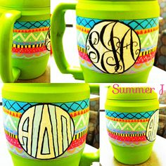 Painted Bubba Keg. tribal print with monogram and ADPi