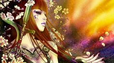 Fantasy girl - green, spring, petals, pink, katana, yellow, girl, flower, woman, asian, tattoo, japanese, sword, fantasy, redhead