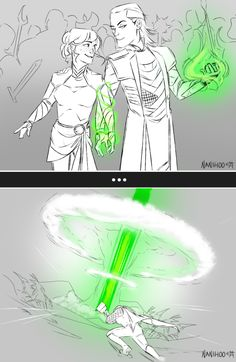 More of the Sorcerer and the Fetterer (Yes Sigyn can essentially turn Loki into a seidr bomb lmao) You can reblog this piece from my art tumblr. PLEASE DO NOT REPOST