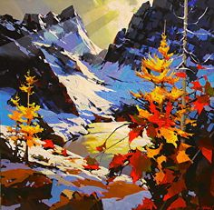 "Ray of light -The Bugaboos by Michael O'Toole Acrylic ~ 36"" x 36"""