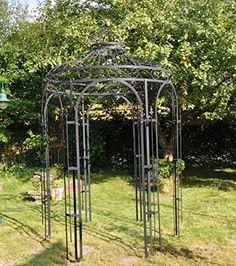 Amazon.de: Stabiler Gartenpavillon aus Metall, schwarz, Pavillon Ø 180cm