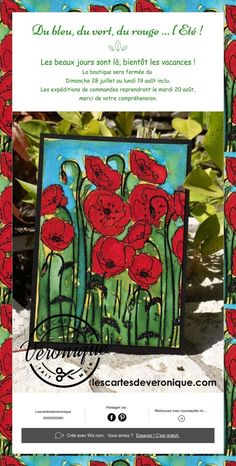 Carterie artisanale / Handmade cards   Du bleu, du vert, du rouge … l'Eté !