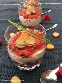Tiramisu salé à la tomate et au boursin