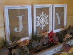 Burlap framed Christmas art