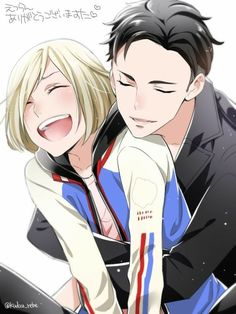 Otabek, Yurio, OtaYuri, yaoi, laughing, hugging, text; Yuri!!! on Ice