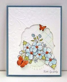 handmade card ... lovely blue flowers in a die cut window with a small butterfly ... sweet card!!