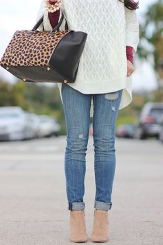StylishPetite.com | Forever 21 Cable Knit Poncho and Clare V Sandrine Satchel