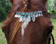 Pink and White Flower Garden Browband for Horses Equine