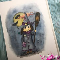 I painted this little witch for my daughters 6ths birthday. We used it for the invitations and as stickers to all the guests   you can find more of my art as stickers and much more @sodersvala www.sodersvsla.se