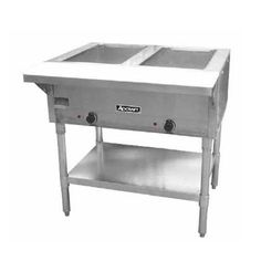 Adcraft 2 Bay Open Well Steam Table Model ST-120-2  Adcraft's 2 bay open well steam table is constructed of stainless steel with galvanized steel wells and legs. 8″ deep open wells fits all full size spillage pans. 2 individually controlled 750W heating elements with infinite control switches. It comes with an adjustable stainless steel undershelf and a 8″ x 1/2″ polycarbonate cutting board. 120V, 1500W and 12.5 Amps. NEMA 5-15 Plug. CE. 1 year warranty   Overall Dimensions: 34″H x 3..