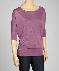 Take a look at the Zenana Melange Plum Banded-Hem Top on #zulily today!