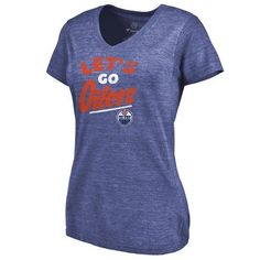 9c78dd91a3 Women s Edmonton Oilers Royal Hometown Collection Let s Go Tri-Blend V-Neck  T-Shirt