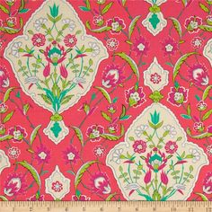 Iznik Tabriz Ruby from @fabricdotcom  Designed by Snow Leopard Designs for Free Spirit, this cotton print is perfect for quilting, apparel and home decor accents. Colors include shades of green, pink, coral, and cream.