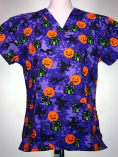 scrub top - Halloween, laughing pumpkins and flying witches - CaringPlus scrubs and uniforms - workwear clothing for nurses, caregivers and other healthcare professionals. Perfect apparel for doctor's, dental and optician offices, nursing hom Cute Nursing Scrubs, Cute Scrubs, Veterinary Scrubs, Medical Scrubs, Scrubs Outfit, Scrubs Uniform, Halloween Scrubs, Halloween Outfits, Medical Uniforms