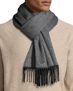 Reversible Cashmere Scarf w/Fringe, Charcoal (Grey) - Begg & Co