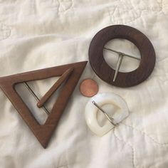 Set If 3 70's Belt Buckles 2-Teak Wood 1 Pearlescent Lucite #Unbranded