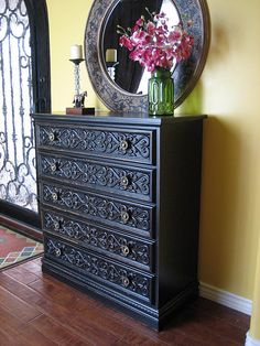 ~ SOLD ~ Pretty black dresser with intricate carving details. Has 5 dovetailed drawers with nice hardware. Home Decor Inspiration, Redo Furniture, Home Decor, Furniture Making, Wallpaper Furniture, Furniture Makeover, Dressers Makeover, Furniture Design, Home Decor Furniture