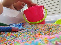 dye rice, colors, sand boxes, food coloring, sensori play, sensory play, rainbow rice, garden, kid